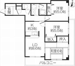 茨木市紫明園 3LDK